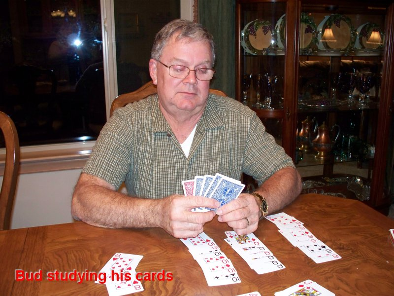 Bud studying his cards