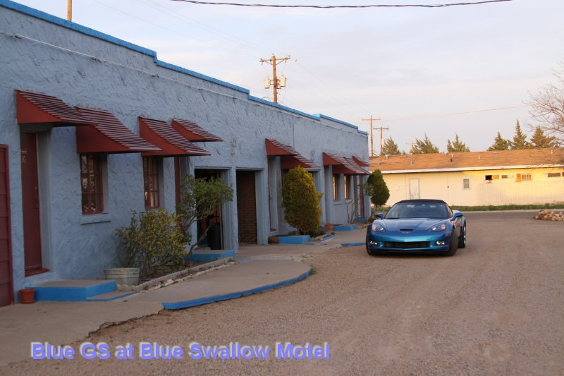 Blue GS at Blue Swallow Motel