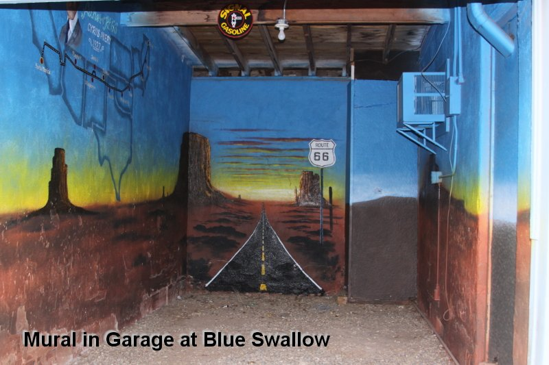 Mural in Garage at Blue Swallow