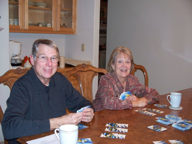 Ida and Bill enjoy a game of Hand and Foot made easier now the the power came back on